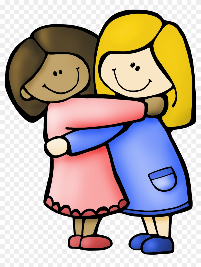 My Friend Clipart - Hug Coloring Page - Free Transparent ...