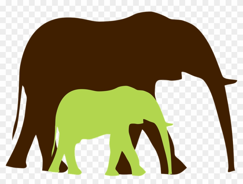Green Baby Elephant And Mom 2 Clip Art At Clkercom - Mother And Baby Elephant Png #181702