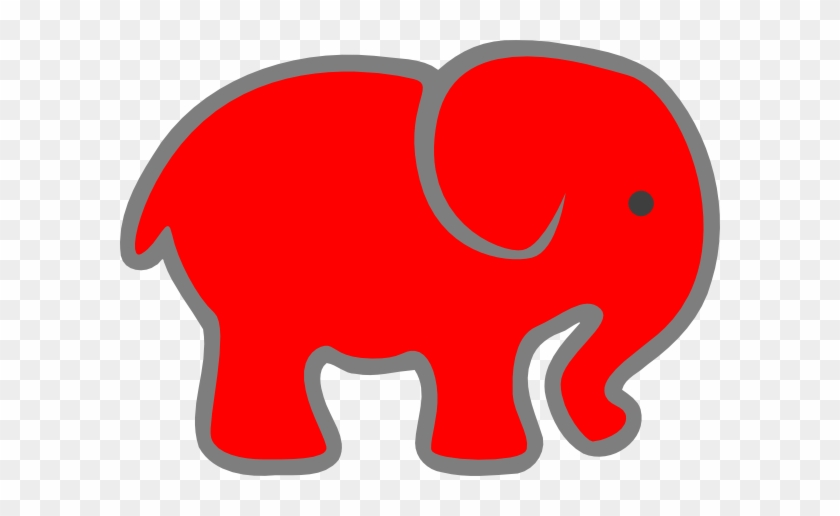 Red Baby Elephant Clip Art - Red Baby Elephant #181705