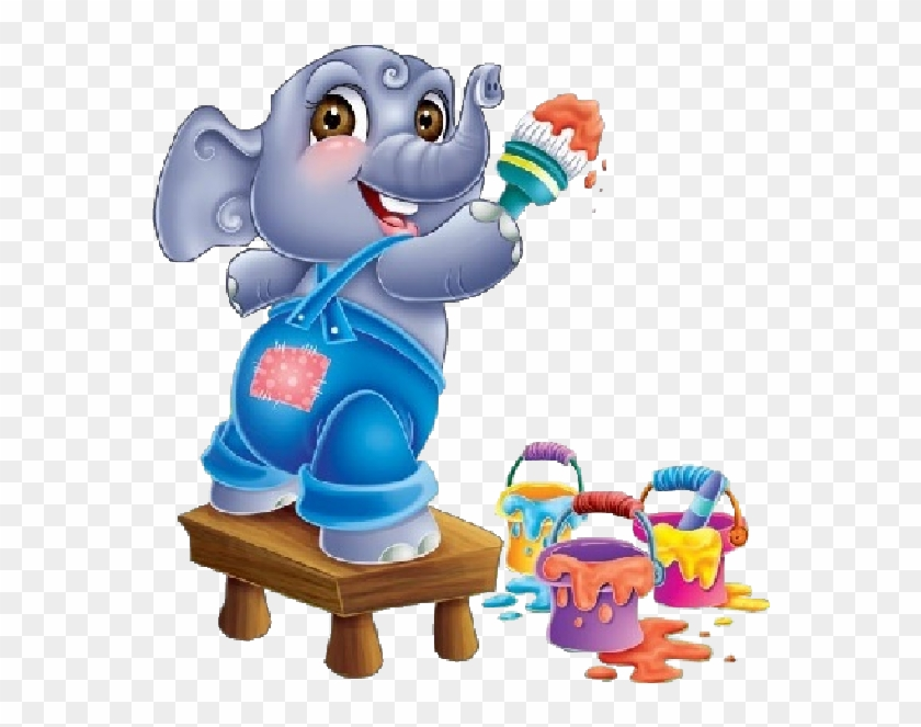 Cute Cartoon Animal Painting - New School Baby Elephant #181727