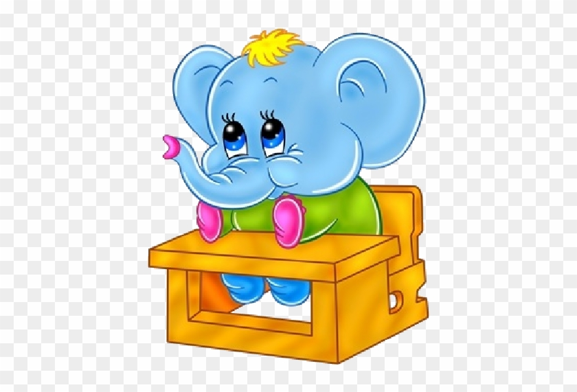 Cute Baby Elephant Sitting At School Desk - Baby Elephant Going To School #181964