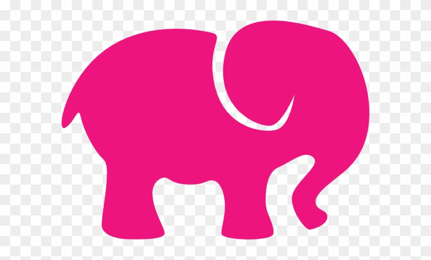 Hot Pink Elephant Clip Art At Clker - Cute Elephant Silhouette #182098