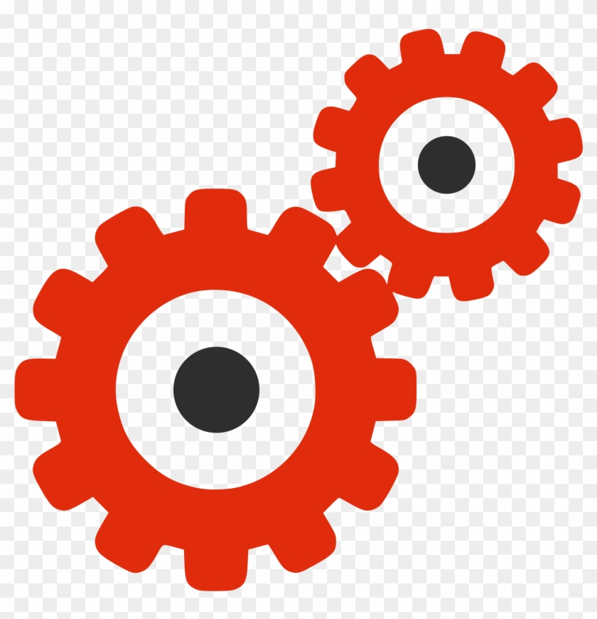 File - Red Silhouette - Gears - Svg - Red Gear Icon Png #182301