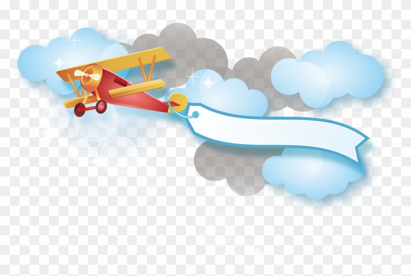 Red Plane Vector Cartoon Airplane With Banner Png Free