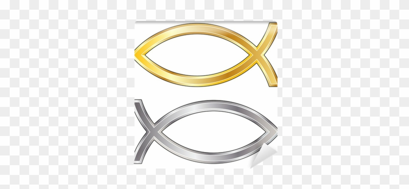 Gold And Silver Christian Jesus Fish Icon Wall Mural - Christian Fish #1029716