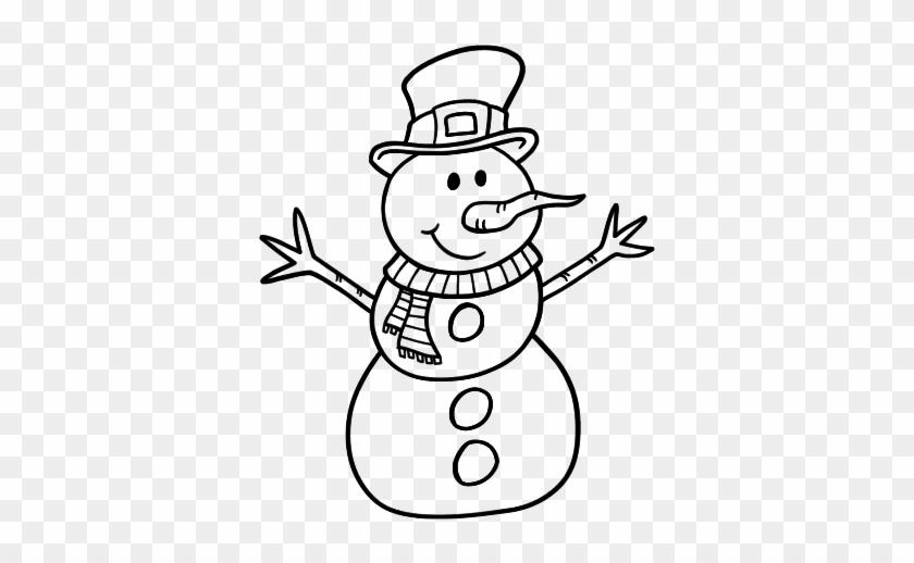 Muñeco De Nieve Dibujo: Dibujo De Muñeco De Nieve Con Sombrero Para Colorear