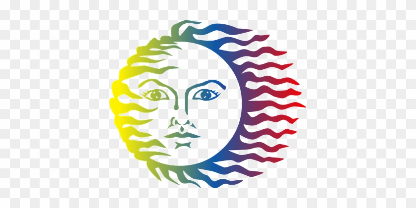 Anthropomorphic Colorful Face Hot Light So - Colorful Sun #1037339