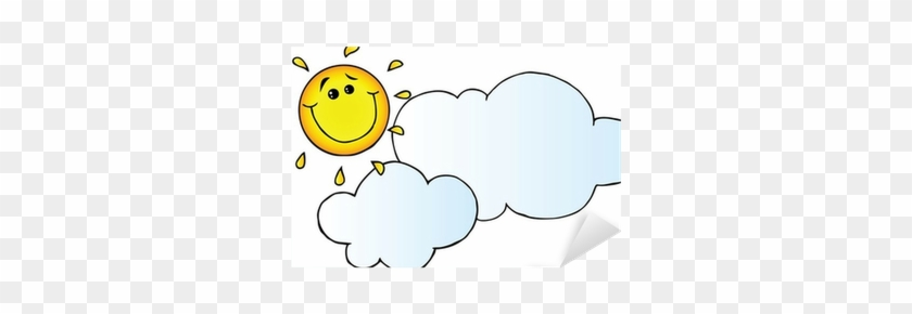 Smiling Sun Behind Cloud Cartoon Character Sticker Smiley Free