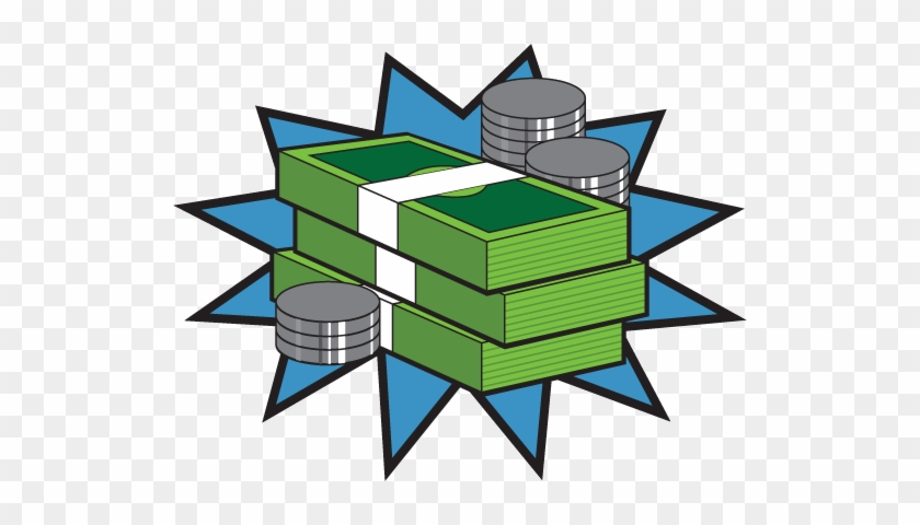 Stacks Of Bills And Coins On A Blue Background For - Comic Book Pow #1041276