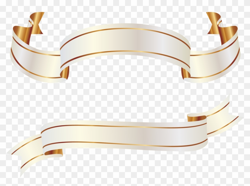 White And Gold Banners Png Clipart Picture - White Gold Ribbon Vector #1041755