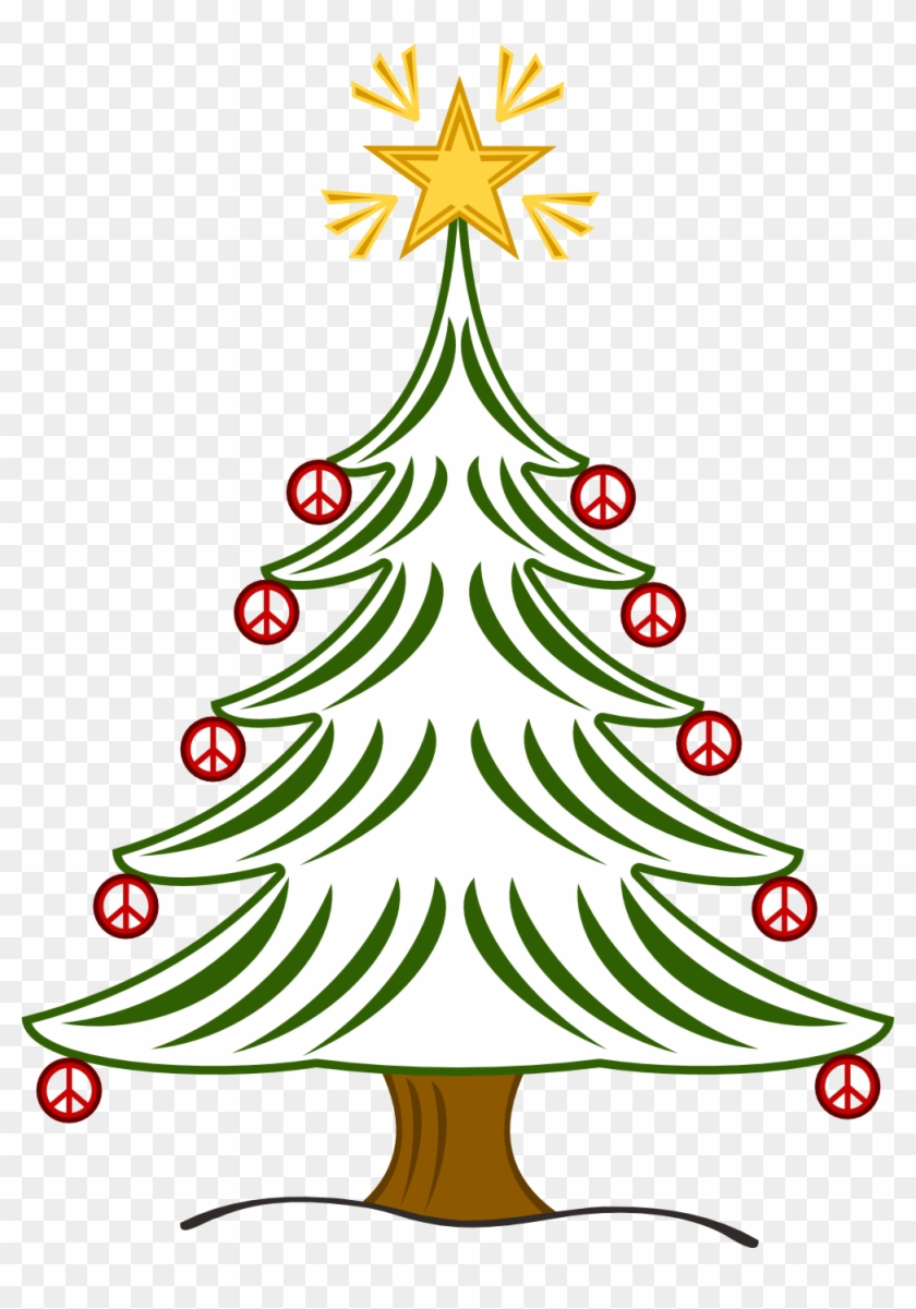 Christmas Peace Sign Clip Art - Merry Christmas Tree Simple #1044685