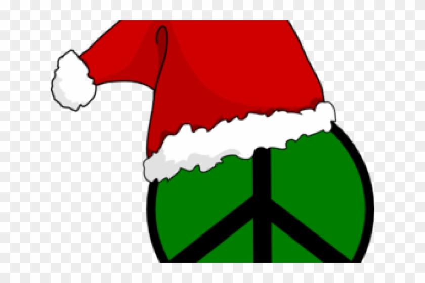 Peace Symbol Clipart Christmas - Santa Hat Clip Art #1044700