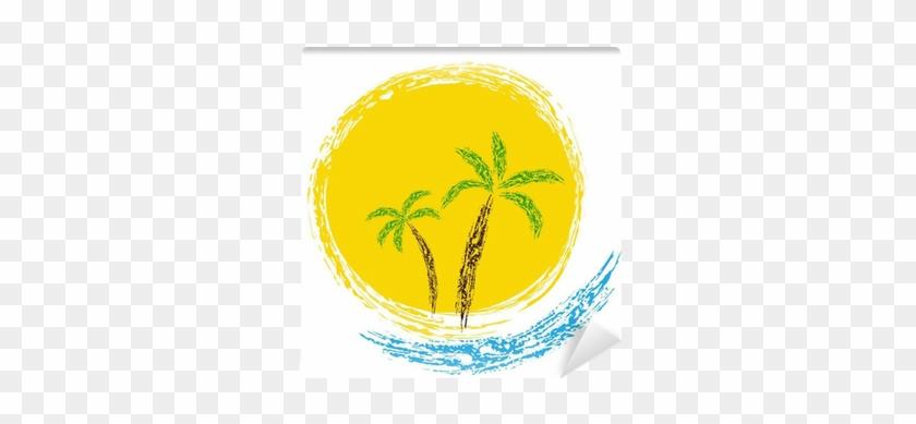 Fotomural Palmeras Tropicales En La Isla Con El Mar Sea Free
