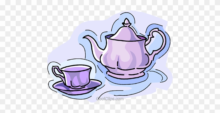 Teapot With Teacup Royalty Free Vector Clip Art Illustration - Tea Cup Clip Art #1046859