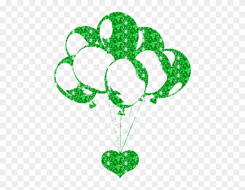 A Green Sparkly Heart Holding Partly Sparkly Green - Animated Wish Balloons Gif #1050453