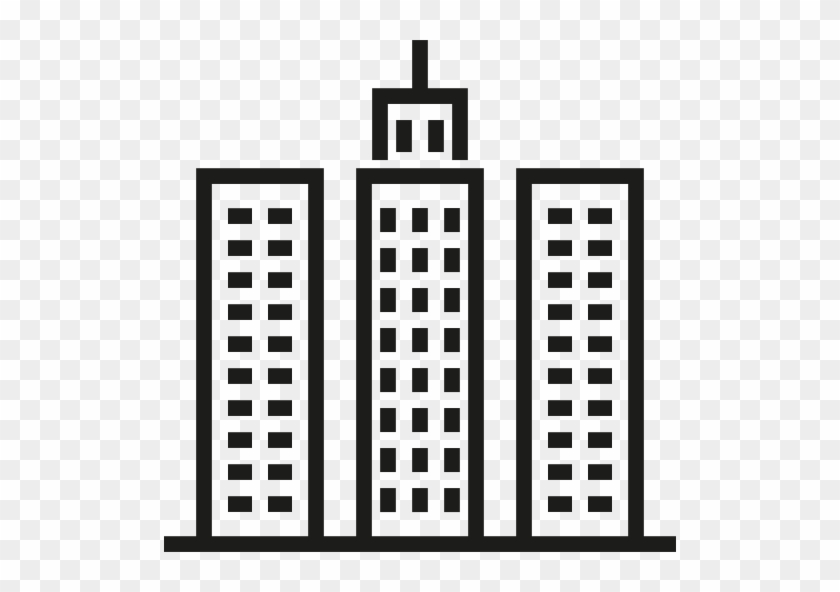 Skyscrapper Free Icon - Office Building Clipart Black And White #1051566