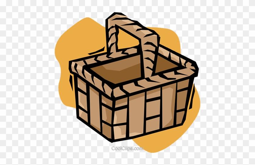 Picnic Basket Royalty Free Vector Clip Art Illustration - Picnic Basket Clip Art #1052464
