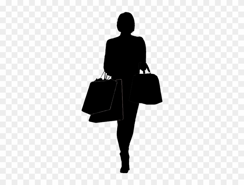 Silhouette Of Woman Shopping - Shopping Woman Silhouette Png #1052619