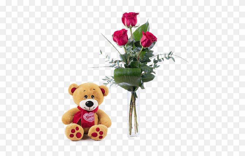 Teddy And 3 Red Roses - Rosas Para El Dia De La Madre #1052693
