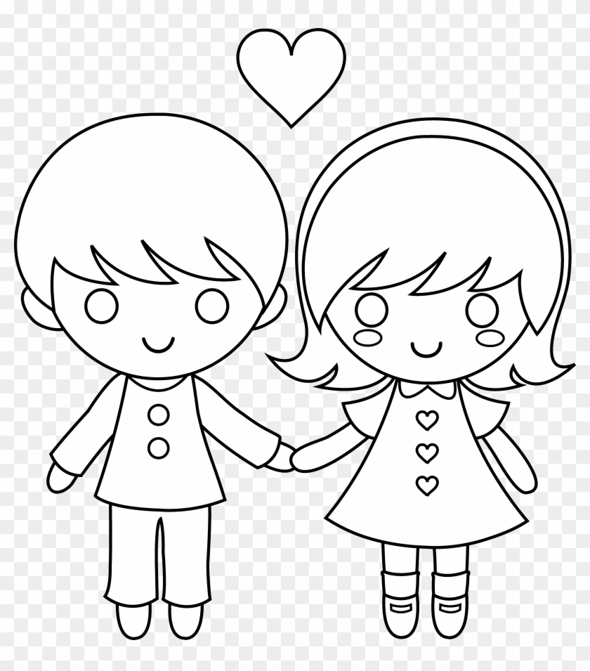 Valentines day clipart love child draw a little boy and girl holding hands