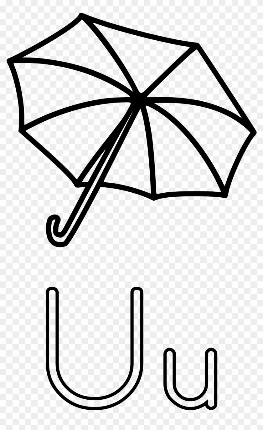 letter u clip art black and - rain umbrella coloring page - free