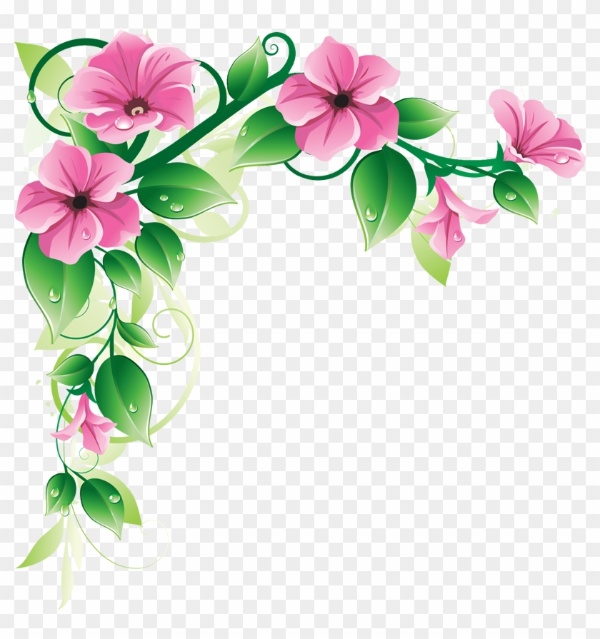 Grab This Free Clipart To Celebrate The Summer - Corner Flower Designs Png #1058672
