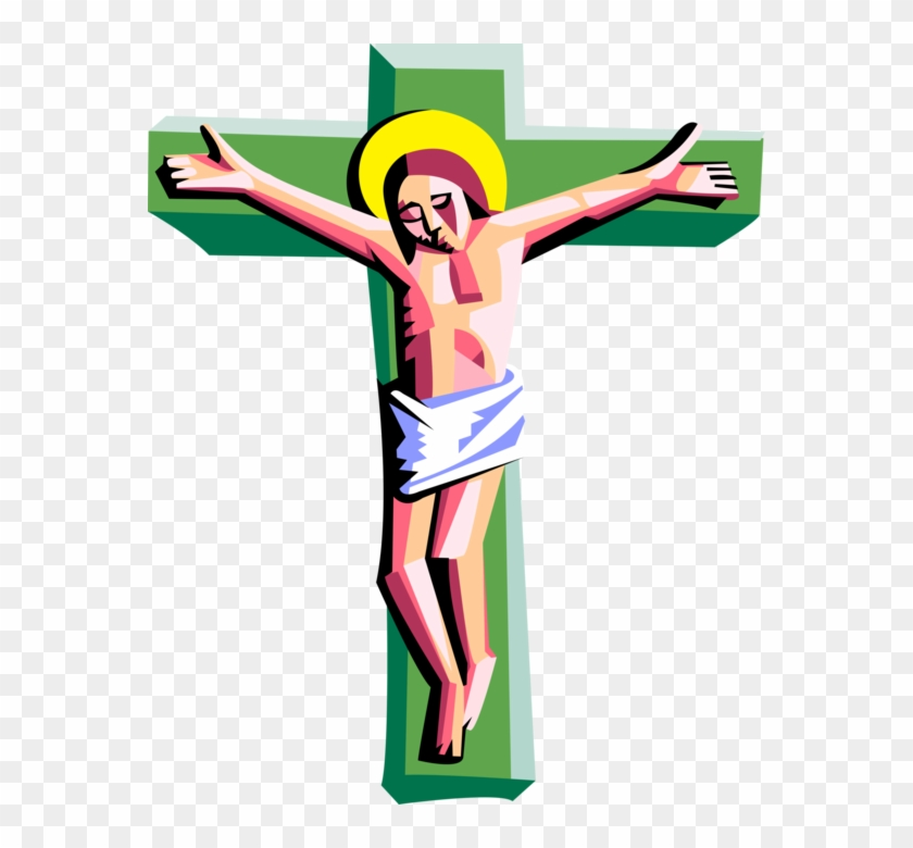 Vector Illustration Of Christian Crucifixion With Jesus - Jesus Christ On The Cross Clip Art #1059691