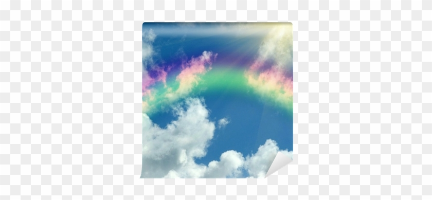 Rainbow In Clouds And In Blue Sky Wall Mural • Pixers® - Sky #1061811