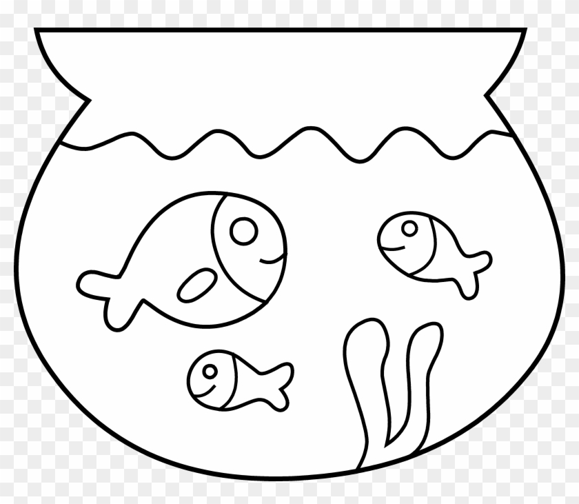 Fishing Clipart Black And White - Clip Art Black And White Fish In Bowl #1063759