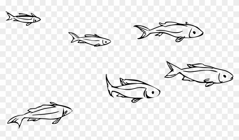 Clipart School Of Fish Rh Openclipart Org School Of - School Of Fish Drawing #1063779