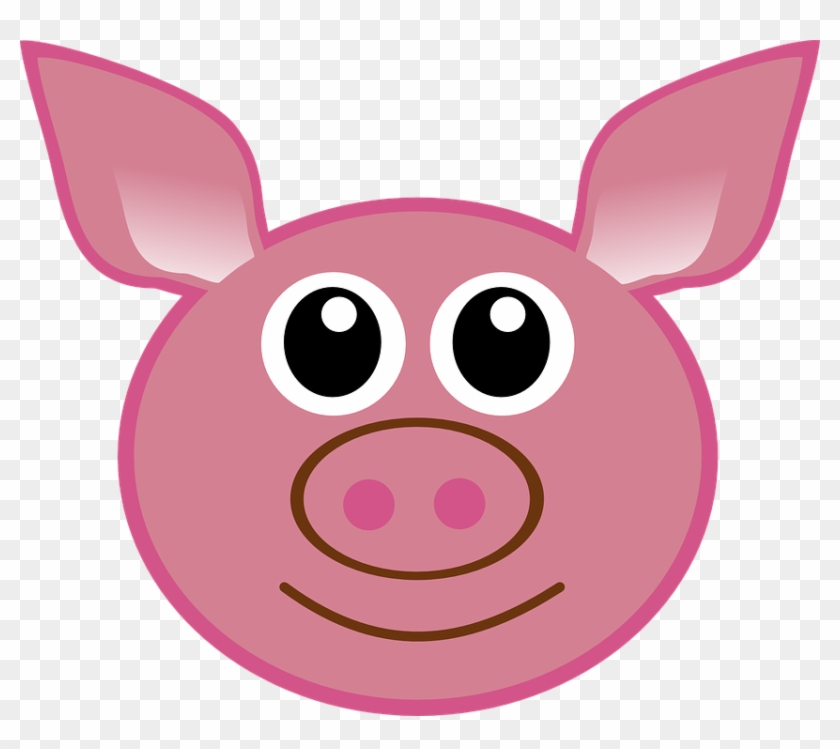 Pig Head Cartoon Cute Isolated Piglet Face - Pig Ears Drawing #182392