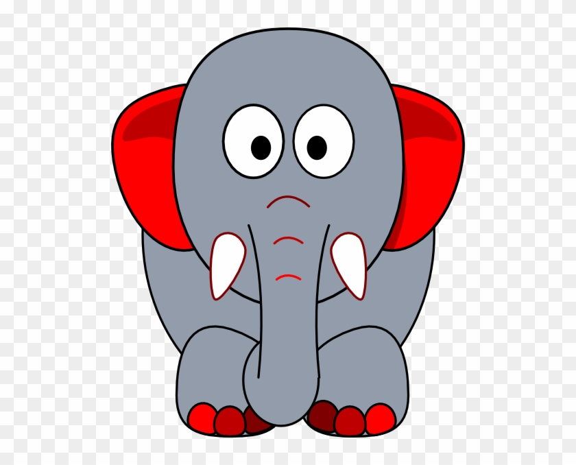 Grey Elephant With Red Accents Clip Art - Indian Elephant #182451