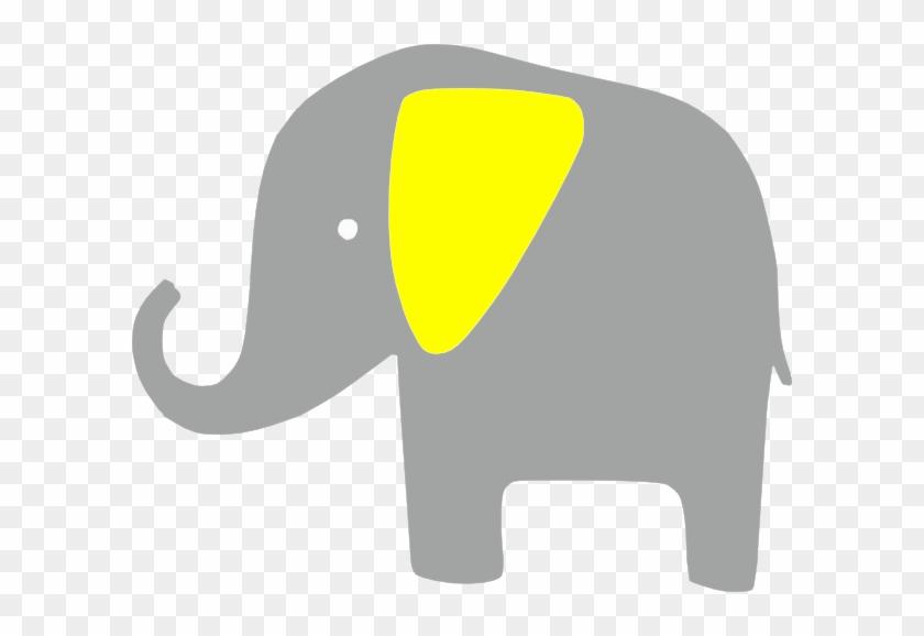 Elefante Amarillo Clip Art - Gray And Yellow Elephant Clipart #182480