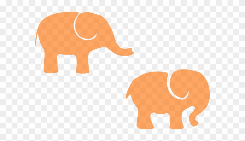 Two Orange Elephants Clip Art - Elephant Silhouette Clip Art #182507