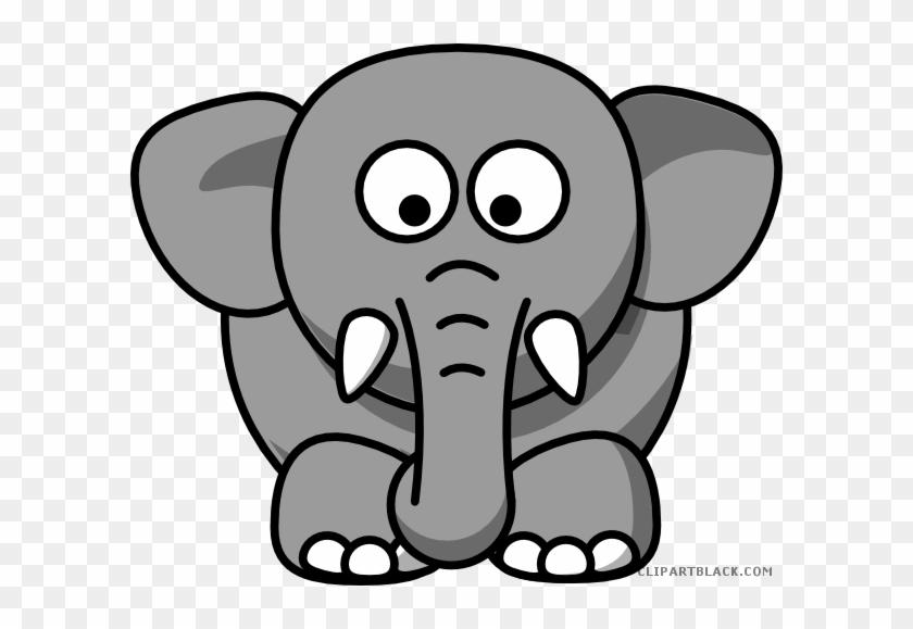 Gray Elephant Animal Free Black White Clipart Images - Elephant Drawing Cartoon #182531