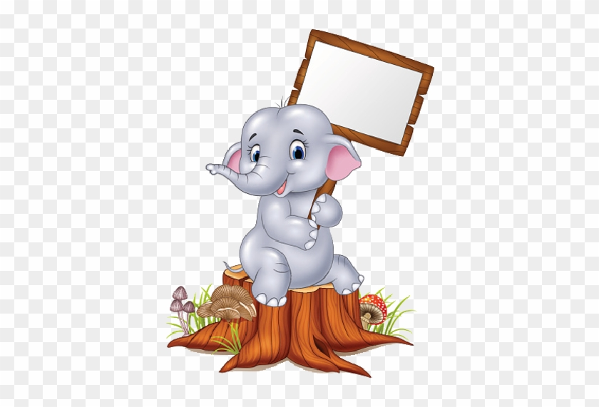 Baby Blue Elephant Holding Poster - Cute Baby Elephant Holding Sign #182640