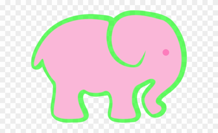 Pink And Green Elephant Clip Art - Pink Elephant Clip Art #182708