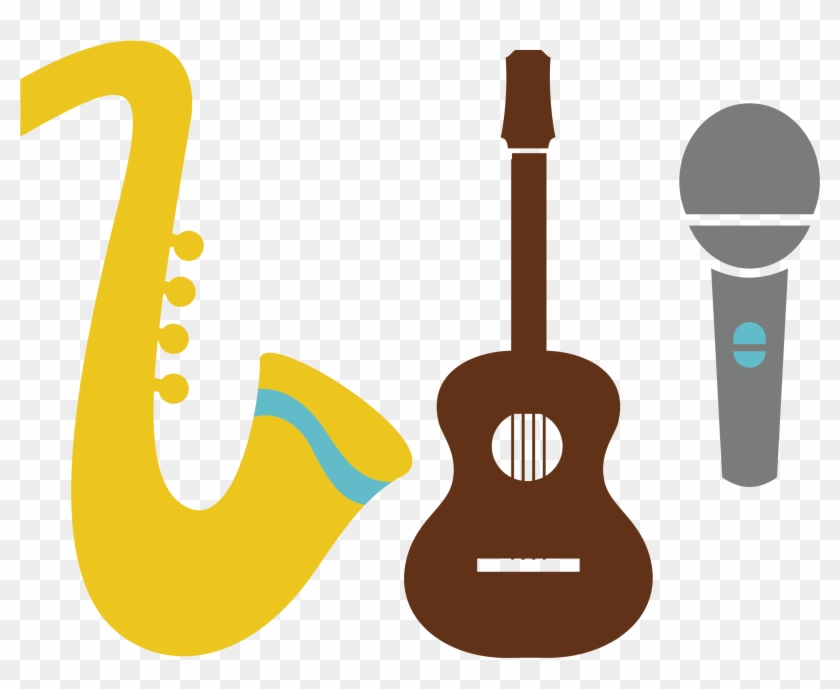 Acoustic Guitar Microphone Clip Art - Saxophone And Guitar #182816