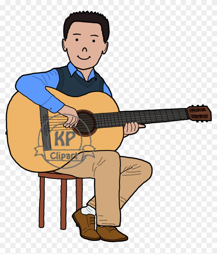 Then Began Drawing The Guitar - Boy Playing Guitar Drawing In Colors #183440