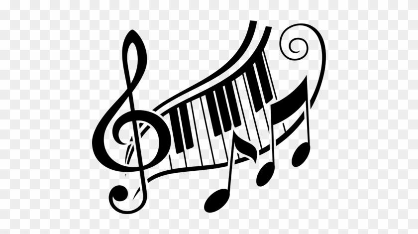 Vinilo Decorativo Música Clave De Sol Y Teclas De Piano - Piano Keys And Music Notes #183652