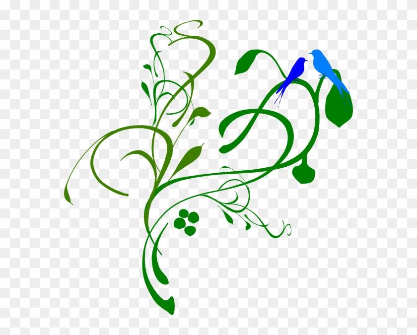 Blue Birds On A Vine Clip Art At Clker - Enchanted Forest Clip Art #184073