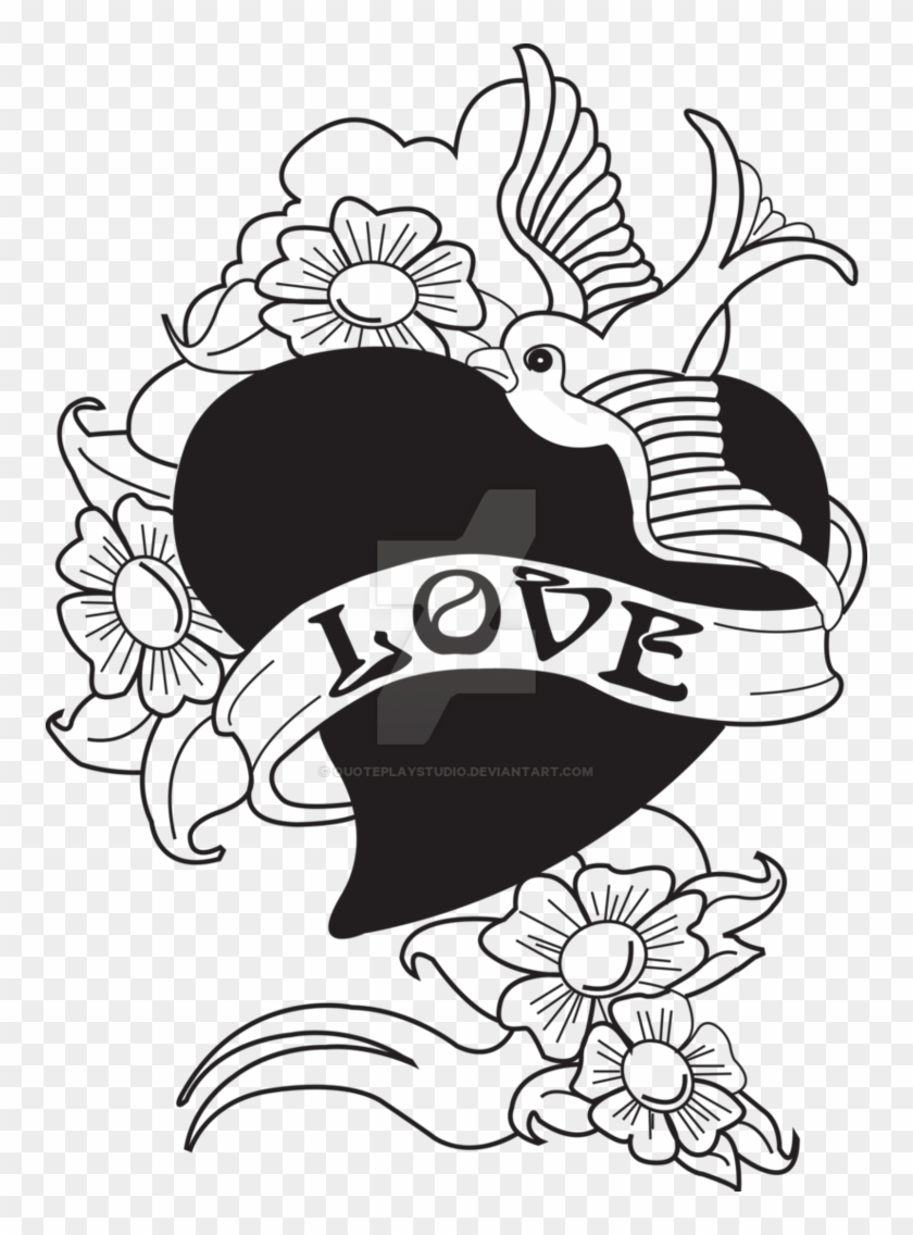 Old School Tattoo Bird Swallow With Love Heart By Quoteplaystudio - Bird Drawing Love Heart #184148