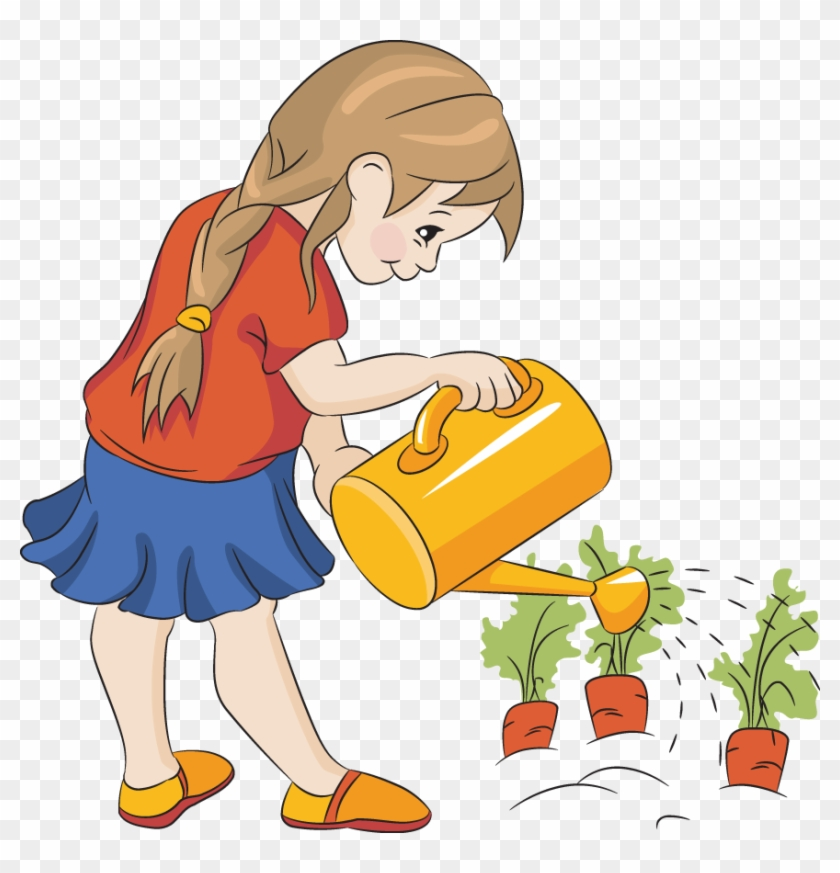 Picture Of Carrots - Watering The Plants Clipart #185297