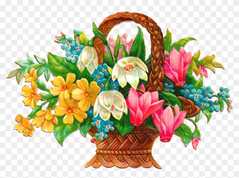 Flower Graphics Clip Art - Flower Basket Cross Stitch #185520