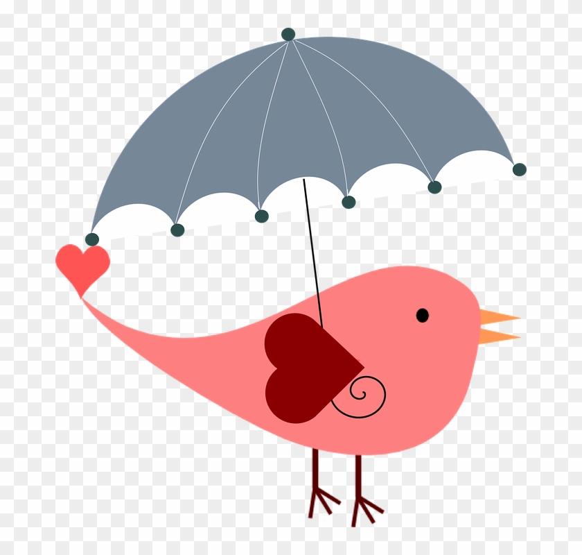Whimsical Umbrella, Bird, Weather, Rain, Cute, Cover, - Bridal Shower Umbrella Clip Art #185950