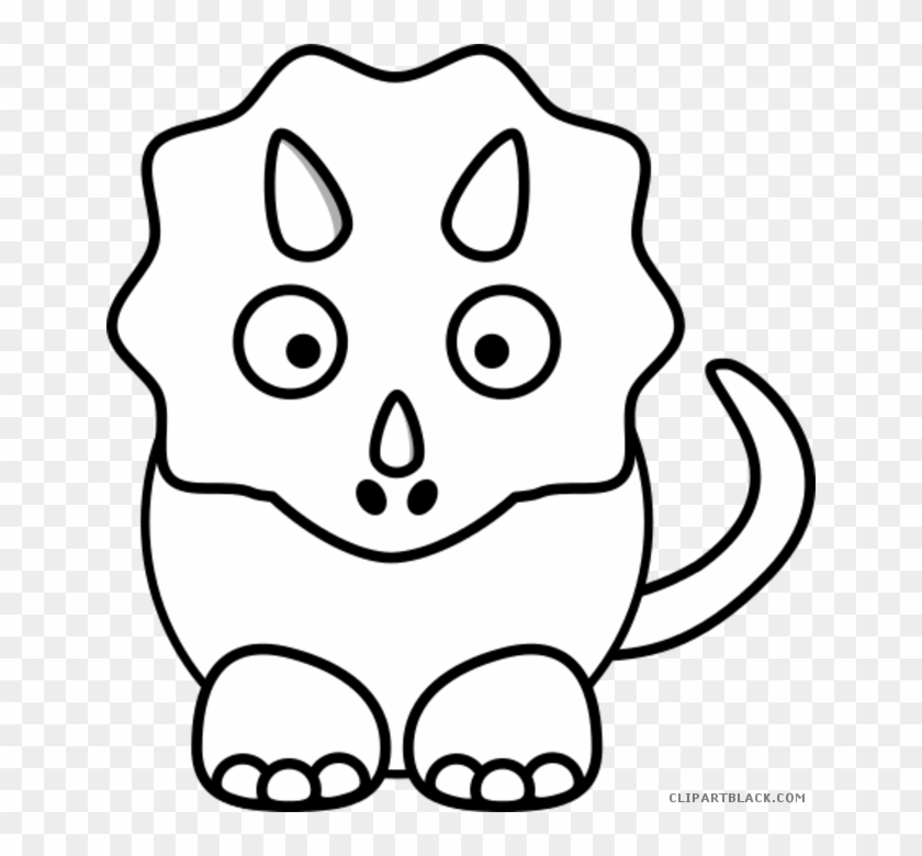 Triceratops Animal Free Black White Clipart Images - Dinosaur Face Coloring Page #1066305