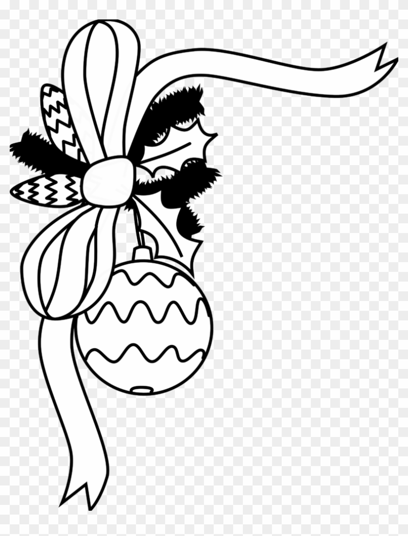Clip Art Black And White - Christmas Decoration Black And White #1068252