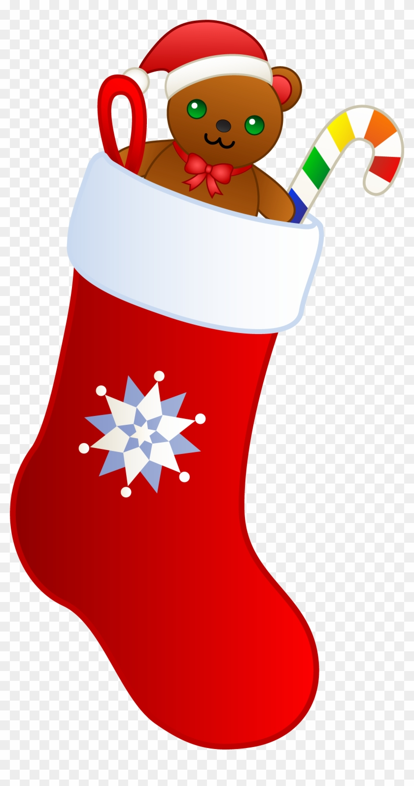 Christmas Stocking With Teddy - Christmas Stocking Clip Art #1071119