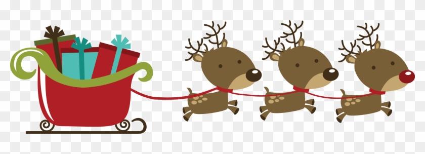 Com Holiday Christmas Santa Santa - Christmas Reindeers With Sleigh #1072004