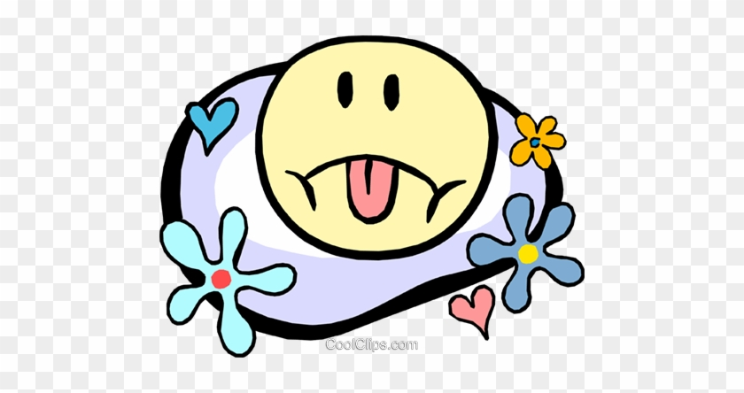 Sad Face In Flower Power Motif Royalty Free Vector - Smiley Face Clip Art #1073464
